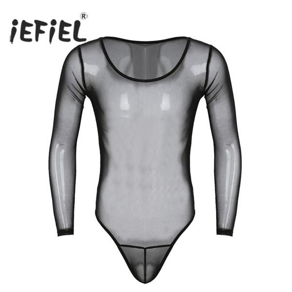 IEFiEL Erkek Slim Fit Seksi Bodysuits See Through Mesh Uzun Kollu Scoop Boyun Yüksek Kesim Tulum Lingerie Hafif Bodystocking