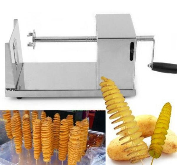 New Stainless Steel Manual Spiral Potato Chips Twister Slice Cutter Tornado Hot Free shipping