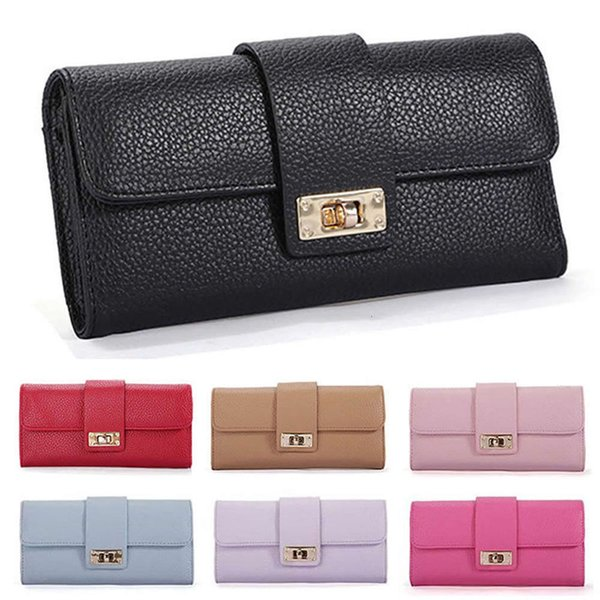 Pop New Women Purses Long Zipper Leather Ladies Clutch Bags With Cellphone Holder High Quality Card Holder Wallet