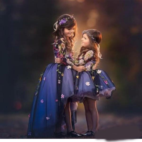 Fairy High-Low Flower Girls Dress Jewel Neck Key-hole Long Sleeve 3D Floral Apliques Toddler Pageant Dresses Lovely Fluffy Communion Dress