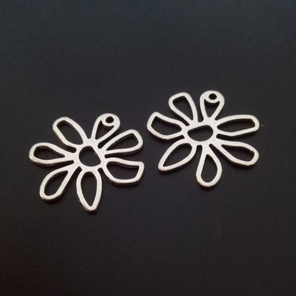 100 pz fascini in lega di zinco fiori cavi argento tibetano ciondolo perline per risultati collana fai-da-te braccialetto 25 * 25mm