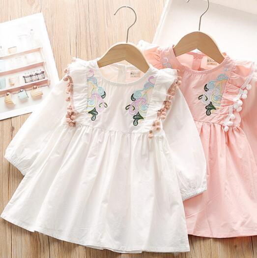 Mädchen-Designer-Kleidung Kleid Blumen-Stickerei-Boutique-Langarm-O-Ansatz Mädchen Kleidung Kleid