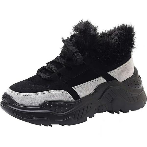 Winter 2019 New Online Celebrity Thick Bottom Korean Edition Increased Fleece Heating Slip-proof Short Plush Fashion girl Shoes