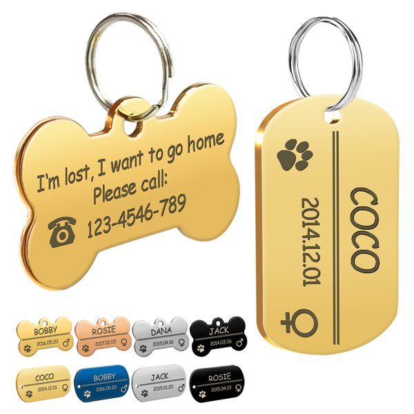 Stainless Steel Pet Id Tags Personalized Customized Dog Cat Tag Small  Collar Accessories Free Engraving Double Sided Bone Service Dog Id Card  Therapy