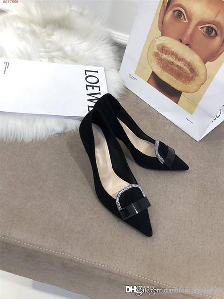 talons hauts pour des chaussures d'affaires robe au début du printemps dernier Pointu sandales à talons hauts Chaussures mocassins noir plat talon 7 cm