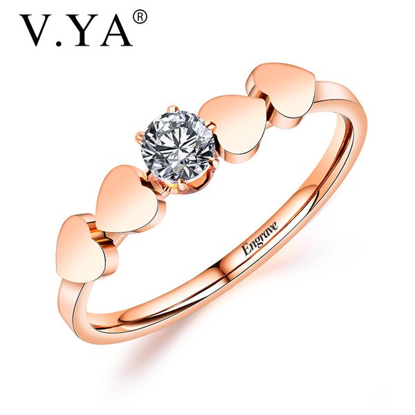 V.YA Personalized Love titanium steel ring for women Heart to heart rings Customized engagement Jewelry accessories Simple