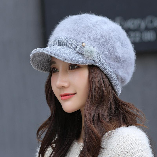 HT2142 Winter Hat for Women Solid Rabbit Fur Hat Newsboy Cap Winter Beret Ladies Thick Warm Beret Fleece Lined Female