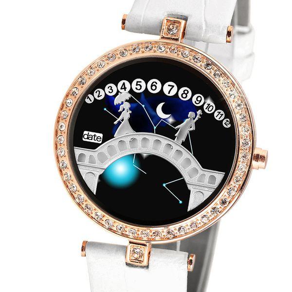Smart2019 Korean Personality Constellation Belt Lover Bridge Led Electronic Baby's Breath Rhinestone Korea Fashion Ma'am Wrist Watch