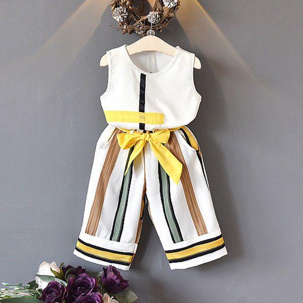 2019 nuevos bebés Ropa para niñas Conjuntos de moda de verano para niñas sin mangas Diseño de empalme T-shirt + Pantalones casuales 2pcs Ropa para niñas