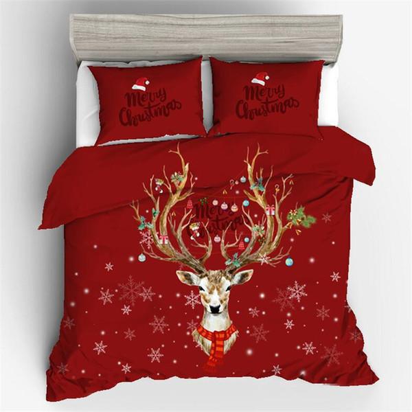 Nouveau cadeau de noël 3D ensemble de literie ensemble Santa Claus linge de lit en coton tissu housse de couette ensemble roi reine taille twin tête de mort en sucre