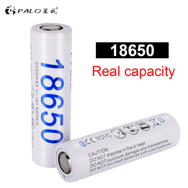Rechargeable Batteries PALO 18650 Battery 100% New Original 3.7V 3200mAh Battery Power 18650 Lithium-ion Rechargeable Batteria for Flashl...