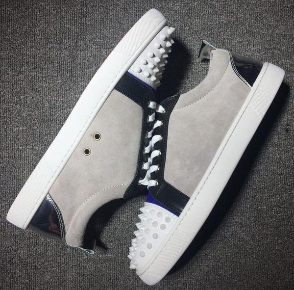 Hot Sale-Top Design Low Cut Camurça Cravado Toe Casuais Flats Sapatos de Fundo Vermelho Para Homens e Mulheres Tênis de Festa Designer de Marca Famosa