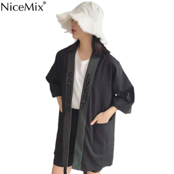 NiceMix Summer Harajuku Blouse Women Kimono Embroidery Letter RANDOM EVENT Womens Tops And Blouses Blusas Mujer De Moda 2019