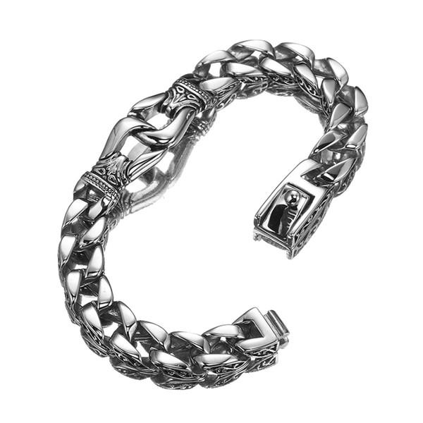 Kühle Edelstahl Silber Farbe Handschellen Armbänder Armreif Schwere Chunky Cuban Gliederkette Armband Punk Männer Schmuck 8,66