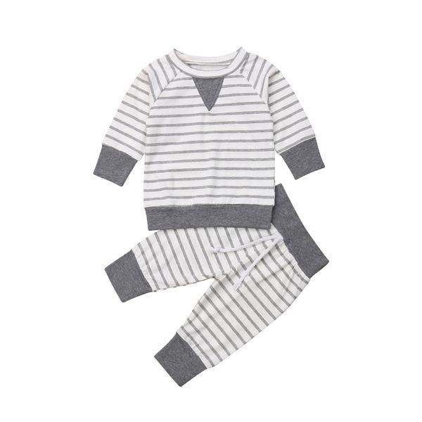 Fashion Baby Boy Clothes Set Boys Tracksuit Striped T-shirt Tops Pants Infant Boys Clothing Set Cotton Winter Baby Boy Costume