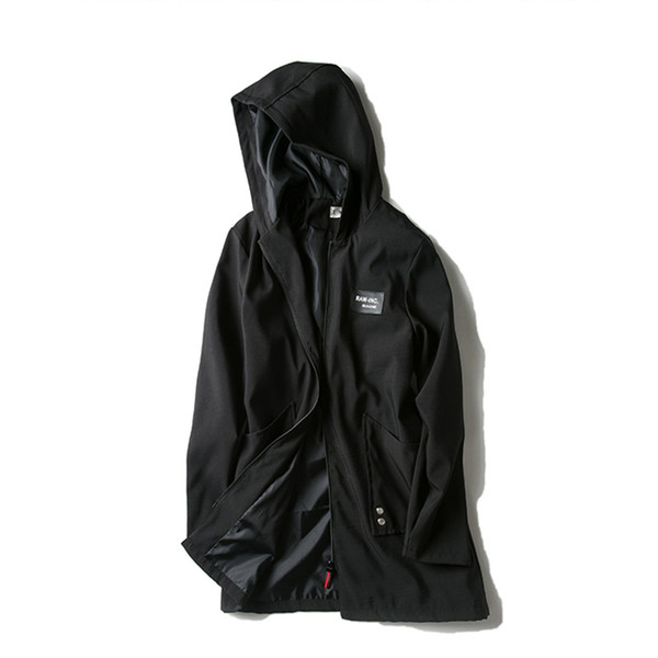 Windbreaker men's jacket spring and autumn new large size fat jacket extra large S-5XL loose long hooded windbreaker thin coat