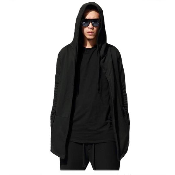 Original design spring autumn men's sweatshirt hoodie men hood cardigan mantissas black cloak outerwear men's clothing oversize