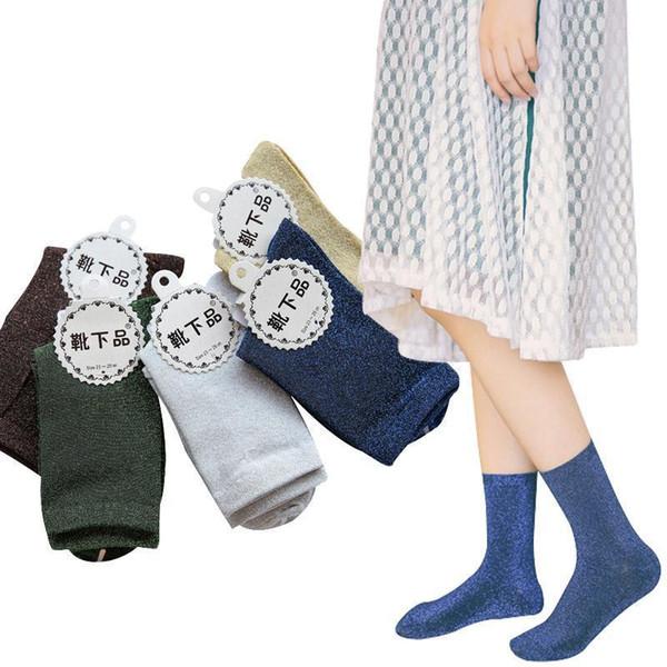 5pair Glitter Women Socks Fashion Silk Female Short Sock Shiny Harajuku Soft Ladies Funny Cute Socks Transparent Elastic Hosiery