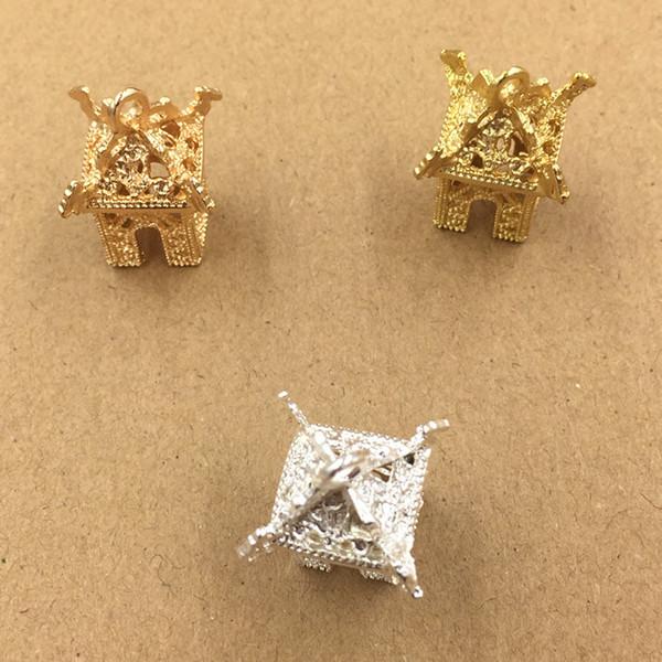 20 unids 13 * 12.5 * 29mm Oro Plata stand Pabellones encantos colgantes de metal Aleación DIY Accesorios de Joyería Headwear Joyería Del Pelo Material de la artesanía
