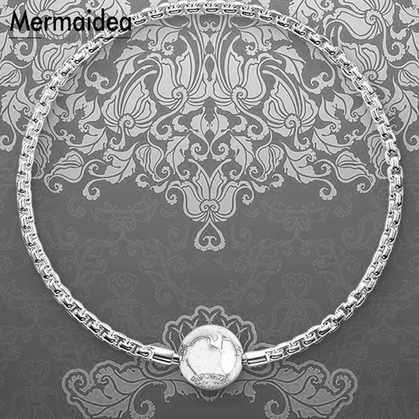 Pulsera de eslabón de la cadena de karma cierre de seguridad oculto 2019 nuevo 925 joyería de moda de plata regalo de pareja para hombre niño mujer niñas
