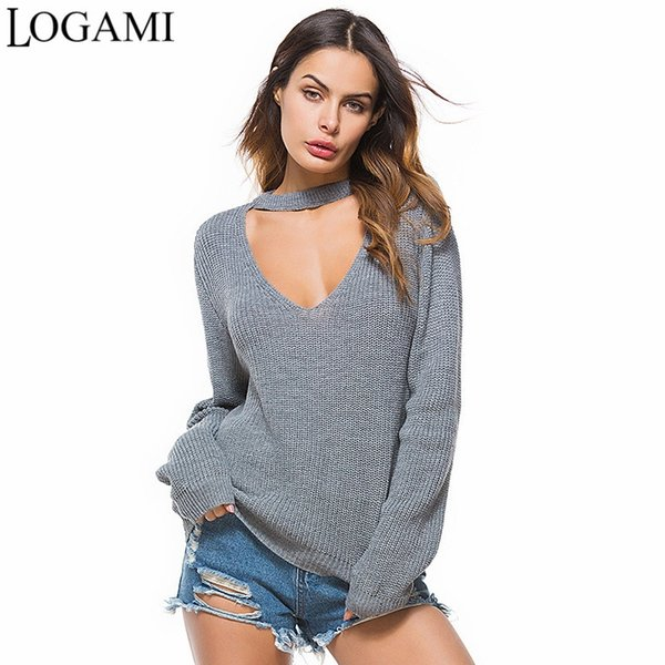 LOGAMI Women Sweaters And Pullovers 2018 Long Sleeve V Neck Loose Pullover Women Spring Autumn Casual Ladies Sweaters #409258