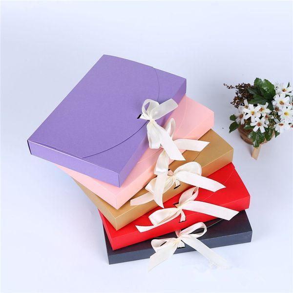 26x17 .5x3 .5cm Grande Boîte Cadeau Cosmétique Bouteille Écharpe Vêtements Emballage Boîte De Papier De Couleur Avec Ruban Sous-Vêtements Boîte D'emballage Lz1853