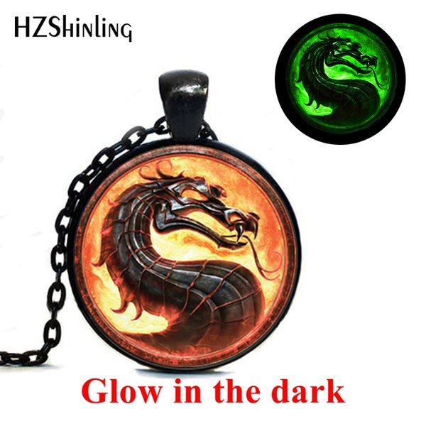New Fashion Dragon Necklaces Mortal Kombat Pendants Glass Dome Jewelry Glowing Necklace Pendant Glow in the Dark