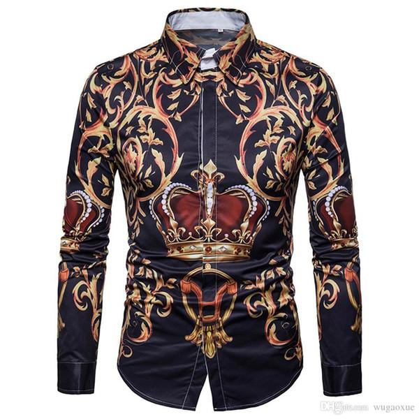 Gentleman Dinner Shirt Noble Style Floral Blouse Long Sleeve Man Tops Turn-down Collar 3XL Slim Blusa Crown Print Man Shirts New