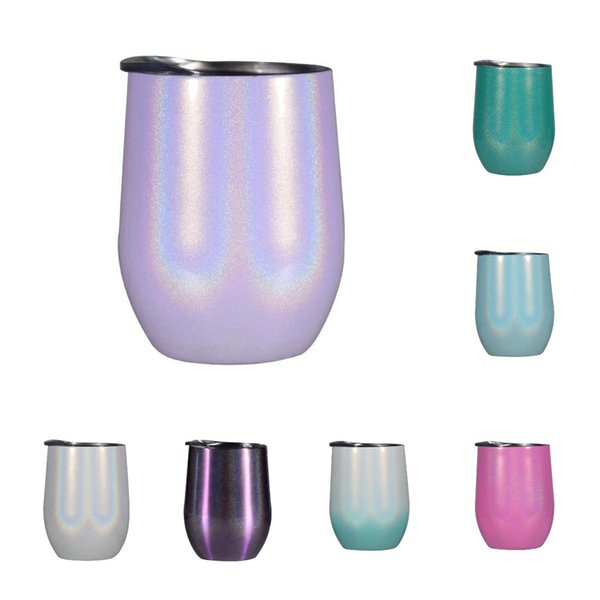 12oz Rainbow Wine Glass Gliter wine tumbler Stainless steel Egg Cup Stemless unbreakable Kids mug vacuum insulated drinking cup MMA2905-B4