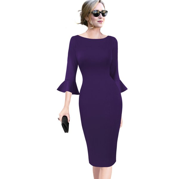 Vfemage Womens Elegant Vintage Flare Bell Sleeve Lace Print Business Casual Work Office Cocktail Party Bodycon Sheath Dress 1599 Y19051001