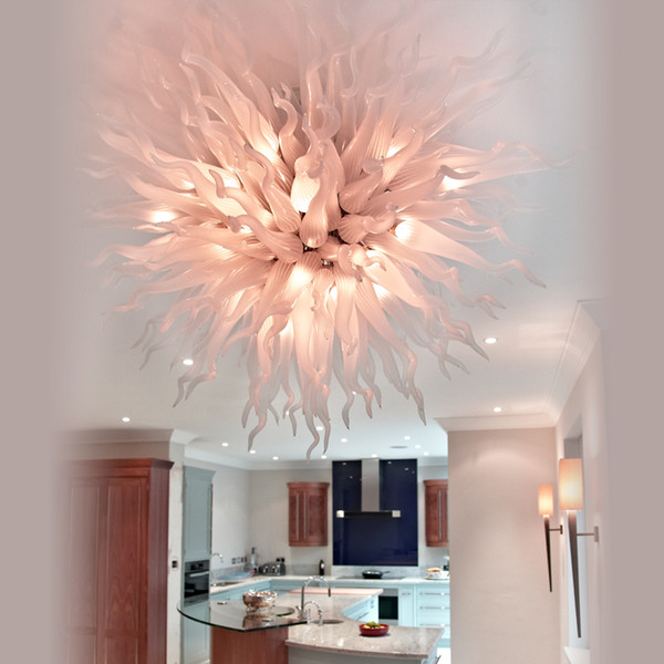 India Pink Chandelier Centerpiece Wedding 100% Hand Blown Glass Cheap Hanging LED 110V-240V Bulbs Modern Ceiling Light