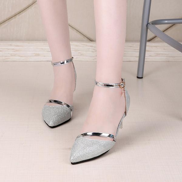 Sapatos sensuais Mulher Sapatos De Salto Alto Sapatos De Casamento De Prata de Ouro Birde Strass Mulheres Sapatos de Verão Sandálias Das Senhoras