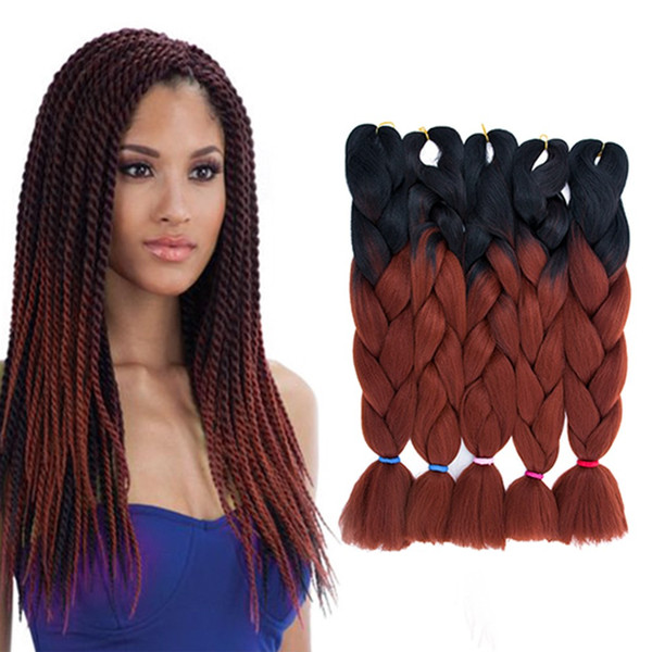 Ombre Braiding Hair Two Tone Jumbo Crochet Braids Synthetic Hair Extensions  24 Inches Box Braid 100% Kanekalon Braiding Hair 500g/Long Red Hair