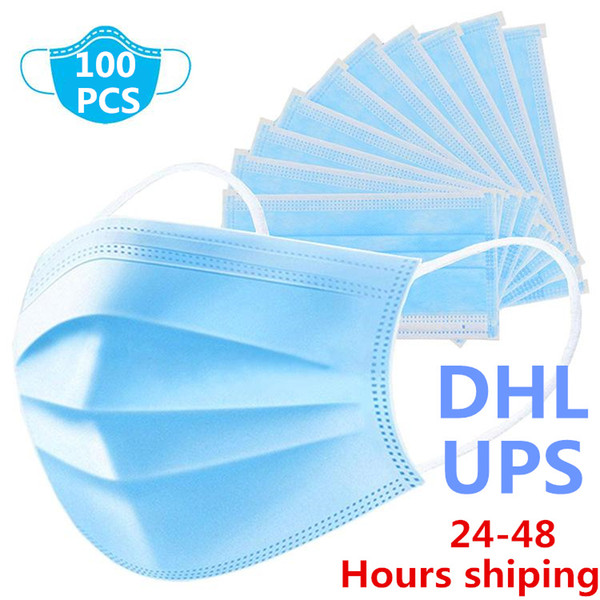 top popular Fast shipping in stock 100 Pcs Masks Thick 3-Layer Mask with Earloops for Salon Masks DHL UPS 2020