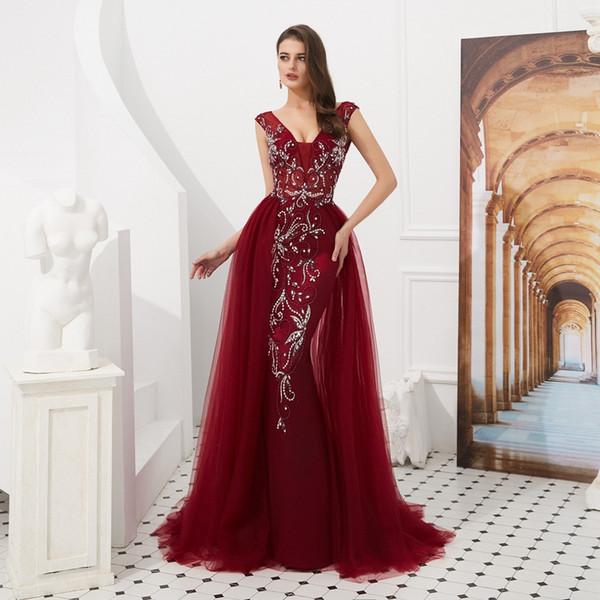 De lujo sirena vestidos de baile 2019 al por mayor de vino rojo / gris barrer de tren sin mangas de abalorios de cristal largo vestido de baile vestido de noche