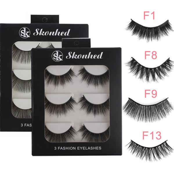 3pairs Makeup Lashes False Eyelashes Beauty Full Strips Thick Wispy Fluffy Fake Eye Lashes Make Up Extension Tools