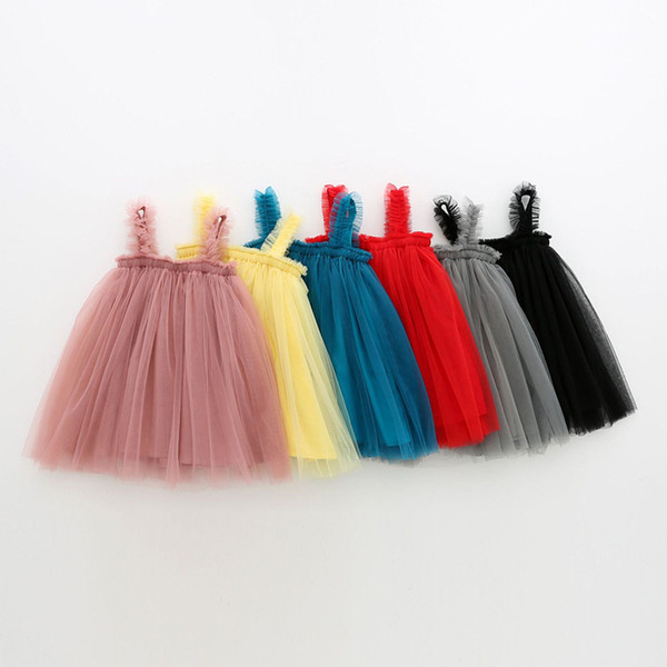 Candy color baby girls tutu skirts solid pure color girl suspender skirt children summer beach dress