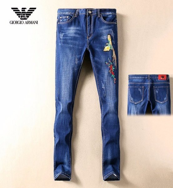 2019 quatre saisons nouveaux pantalons de pieds minces trou de mode de broderie jean décontracté animal mâle mince pantalons d'hommes coréens T057639808