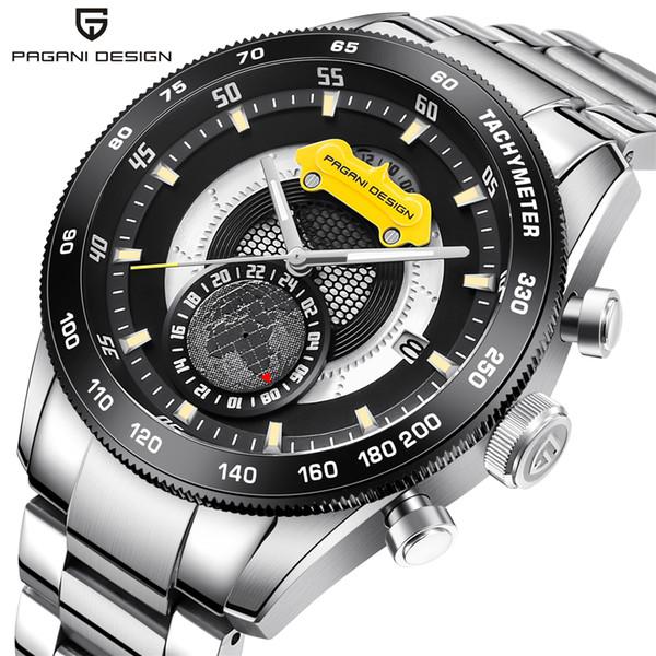 PAGANI DESIGN Brand Chronograph Sport Watches Men Reloj Hombre Full Stainless Steel Quartz Watch Clocks Relogio Masculino