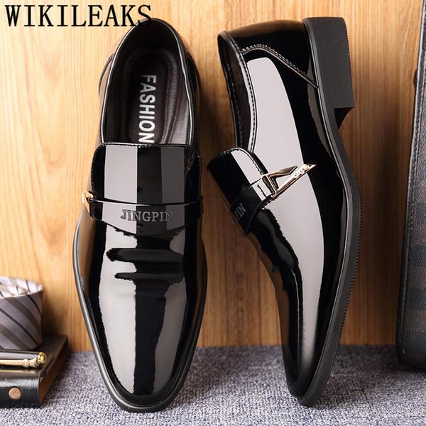 Sapatos de escritório homens elegantes elevador sapatos para homens coiffeur vestido marrom mens vestido botas de couro de patente zapato hombre formal bona