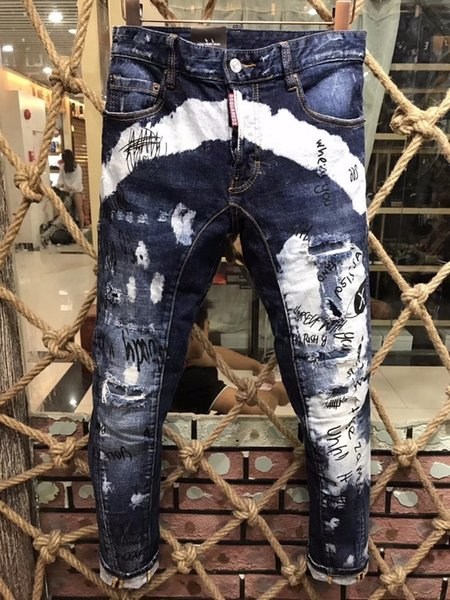 Best selling denim trousers men d2019 fashion high-end hole patch grinding micro-slim Slim casual small straight foot male A136