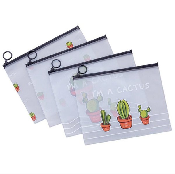 Les femmes Transparent Sac Cosmétique Cactus PVC Voyage Make Up Bags Pouch dames anneau sac de rangement à glissière