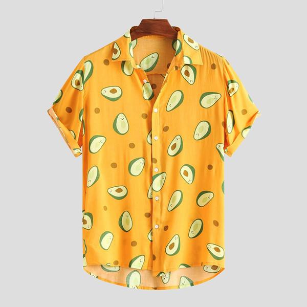 Camisas hawaianas Hombre Divertido Aguacate Impreso Turn Down Collar Manga corta Camisas casuales Hombre Botón Streetwear Beach Camisa