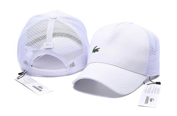 Moda Timsah Nefes Şapkalar Tasarımcı Kapaklar Erkekler Womens Beyzbol Şapkası Ayarlanabilir Logo Nakış Parlak Beyaz Şapkalar 6 Renk Yüksek kalite
