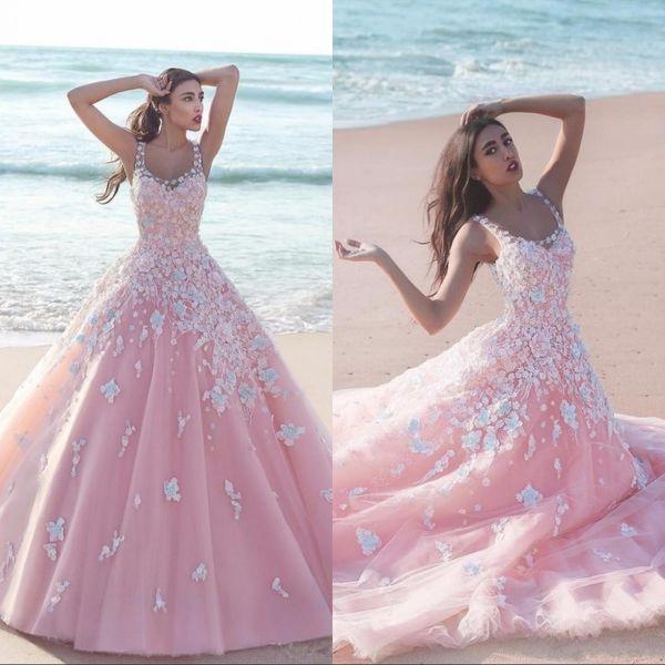 Vestido Organza Rosa Floral Flor Vestido De Baile Vestidos Quinceanera 2020 Applique Tulle Colher Mangas Corpete De Renda Longo Vestidos De Baile
