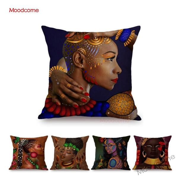 Moda Africa Donna Bellezza nera Ragazza Abito tradizionale africano Decorativo per la casa Fodera per cuscino Cuscino in lino Federa per divano