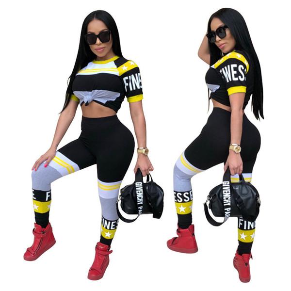 Модные женские обтягивающие панно Slim Fit Спортивный спортивный костюм с коротким рукавом и брюки Узкие женские спортивные костюмы для йоги