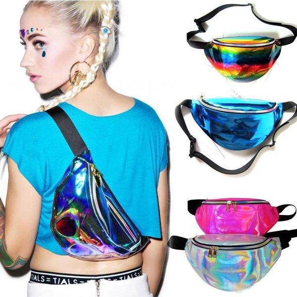 21 Color Fanny Pack Waist Bag PU Laser Purse One Shoulder Hip Bag Punk Sport DHL Shipping