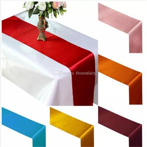 Kostenloser Versand Tischläufer Satin Tischläufer für Hochzeit Satin Band Tuch Tischläufer Flagge von Hochzeitsbankett Dekore aa472-479 201712
