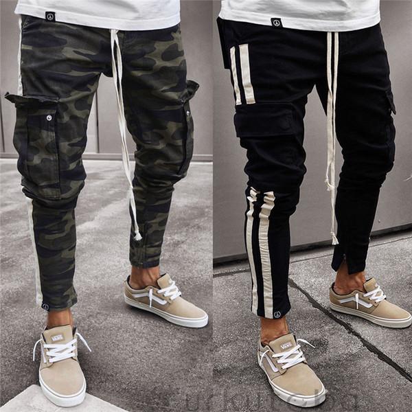 Moda Masculina Calças Calças de Camuflagem Casuais Trabalho Militar de Carga Camo Combate Plus Size Calça Side Stripe Hip Estilo Pop Streetwear Q190417